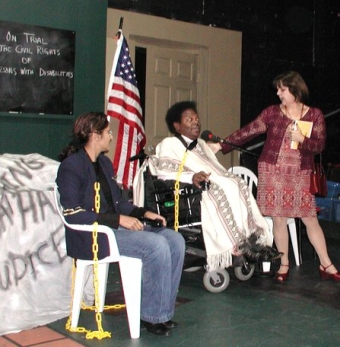 Sailajo Cherukuri, member of the Crip Chorus, Bobbi Pires as Ms. Goody and Ron Brown, Crip Chorus