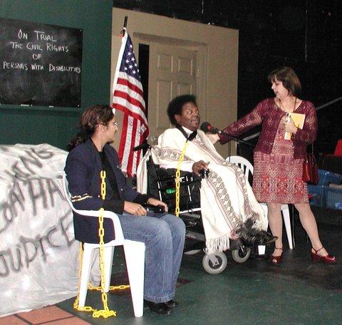 Sailajo Cherukuri, member of the Crip Chorus, Bobbi Pires as Ms. Goody and Ron Brown, Crip Chorus