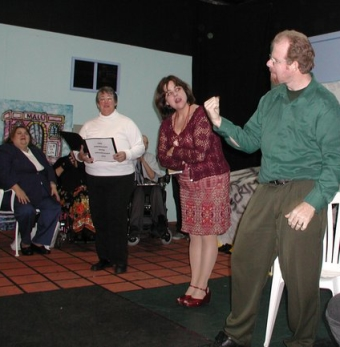 Kathey Berman, member of the Crip Chorus, Dana Starr as Narrator, Faith Hope, Bobbi Pires as Ms. Goody and Tim Hickerson, member of the Crip Chorus.