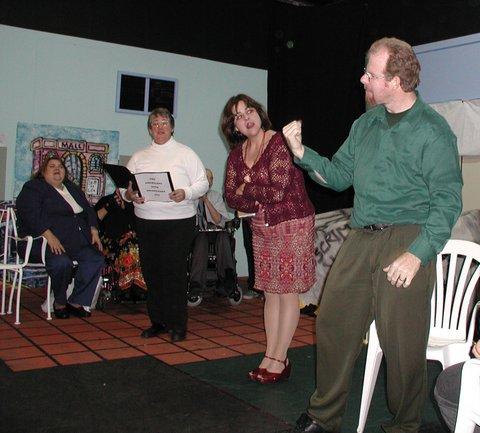 Kathey Berman, member of the Crip Chorus, Dana Starr as Narrator, Faith Hope, Bobbi Pires as Ms. Goody and Tim Hickerson, member of the Crip Chorus.